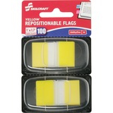 "SKILCRAFT Colorful Self-stick Flag - 1"" x 1.75"" - Rectangle - Yellow - Repositionable, Self-adhesive NSN3152024"