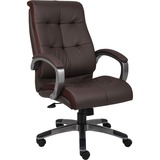"""Lorell Executive Chair - Leather Brown Seat - 5-star Base - Brown - 20"""" Seat Width x 20"""" Seat Depth  LLR62621"""