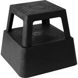 "Genuine Joe Structural Plastic Step Stool - 350 lb Load Capacity - 14.3"" x 14.3"" x 13"" - Black GJO02428"