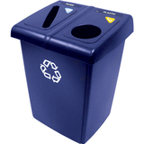 Rubbermaid® Commercial Glutton Recycling Station, Two-Stream, 46 gal, Blue RCP1792339