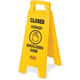 "Rubbermaid Commercial 6112-78 Floor Sign with Multi-Lingual ""Closed"" Imprint, 2-Sided - 1 / Each - C RCP611278YW"
