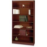 "Safco Mahogany Square-edge Veneer Bookcase - 36"" x 12"" x 72"" - 6 x Shelf(ves) - 600 lb Load Capacity SAF1505MHC"
