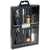 SYBA Multimedia 32 Piece Hobby Tool Kit Housed in a Black Slim Handsome Fold-out Case
