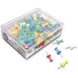 "Gem Office Products Push Pins - 0.4"" Length - 100 Pack - Assorted - Plastic, Steel GEMCP0A"