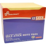 """SKILCRAFT Self-Stick Note Pad - 1200 x Yellow - 4"""" x 6"""" - Rectangle - Yellow - Paper - Removable, Se NSN2858355"""
