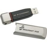 SKILCRAFT 8GB USB 2.0 Flash Drive - 8 GB - USB 2.0 - Silver - 1 Pack - Tamper Evident, Water Proof,  NSN5999351