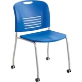 Safco Vy Straight Leg Stack Chairs w/ Casters - Plastic Seat - Plastic Back - Steel Powder Coated Fr SAF4291LA
