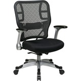 "Office Star Grid/Mesh Chair w/ Flip Arms - Black Seat - 5-star Base - 20.75"" Seat Width x 20"" Seat D OSP2153R2C62R5"
