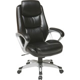 """Lorell Executive Leather high-back Chair - Leather Black Seat - Leather Back - 5-star Base - 21"""" Sea LLR52120"""