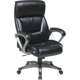 """Lorell Executive Leather Eco Chair - Leather Black Seat - Leather Back - 5-star Base - 20.50"""" Seat W LLR52121"""