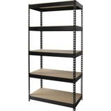 "Lorell Riveted Steel Shelving - 5 Compartment(s) - 72"" Height x 36"" Width x 16"" Depth - Recycled - B LLR61620"