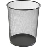"Lorell Black Mesh Round Waste Bin - 4.70 gal Capacity - Round - 14.3"" Height x 12"" Diameter - Steel  LLR52770"