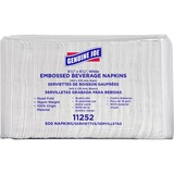 "Genuine Joe Quad-fold Square Beverage Napkins - 2 Ply - 9.50"" x 9.50"" - White - Absorbent, Embossed, GJO11252"