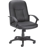 Lorell Leather Managerial Mid-back Chair - Black Frame - 5-star Base - Black - Bonded Leather - 20.5 LLR84869