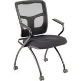 LLR84374 - Lorell Mesh Back Fabric Seat Nesting Chairs - 2...