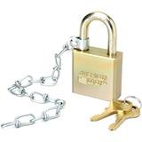 SKILCRAFT Solid Steel Case Padlock w/Chain - Boron Steel Case - Steel Gray NSN5881010
