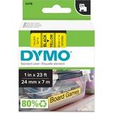 "Dymo Black on Yellow D1 Label Tape - 1"" Width x 23 ft Length - Yellow - 1 Each DYM53718"