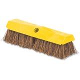 "Rubbermaid Rugged Deck Brush - 2"" Length Bristles - 1 Each - Plastic, Palmyra - Yellow RCP9B3400"