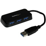StarTech.com Portable 4 Port SuperSpeed Mini USB 3.0 Hub - Black