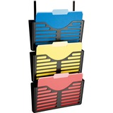 Lorell Plastic Hanging Triple Pocket File Set - 3 Pocket(s) - Wall Mountable - Black - Plastic - 1Ea LLR80666