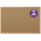 "Mead Cork Surface Bulletin Board - 24"" Height x 18"" Width - Natural Cork Surface - Oak Aluminum Fram MEA85365"