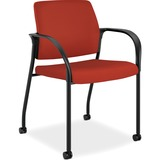 HON Multipurpose Mobile Poppy Guest Stacking Chair - Fabric Cranberry Seat - Fabric Cranberry Back - HONIS109CU42