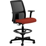HON Ignition Series Mesh Back Task Stool - Fabric Cranberry Seat - Mesh Black Back - 5-star Base - B HONIT108CU42