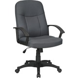 Lorell Executive Fabric Mid-Back Chair - Fabric Gray Seat - Fabric Gray Back - Black Frame - 5-star  LLR84554