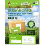"MACO Laser / Ink Jet File / Copier Sugarcane Address Labels - Permanent Adhesive - 1"" Width x 4"" Len MACMSL2000"