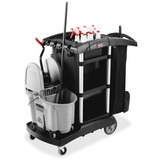 Rubbermaid® Commercial Executive High Capacity Janitorial Cleaning Cart, 22.5w x 38.5d x 20.5h, Blac RCP1861429