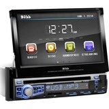 Boss Audio BV9976B Single-DIN 7 inch Motorized Touchscreen DVD Player Receiver, Bluetooth, Wireless Remote - 4 Channels - DVD+RW, DVD-RW, CD-RW - DVD Video, VCD, MP4 - CD-DA, MP3, WMA - AM, FM - SD - Bluetooth - USB - Auxiliary Input - iPod/iPhone Compatible - In-dash