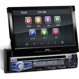 "Boss Audio BV9973 In-Dash Single-DIN 7"" Motorized Touchscreen Monitor DVD Player - 4 Channels - DVD-RW, DVD+RW, CD-RW - DVD Video, Video CD, MP4, MPEG, AVI - CD-DA, MP3, WMA - AM, FM - SD, MultiMediaCard (MMC) - USB - Auxiliary Input - iPod/iPhone Compatible - In-dash"