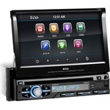 Boss Audio BV9977 Single-DIN 7 inch Motorized Touchscreen DVD Player Receiver, Detachable Front Panel, Wireless Remote - 4 Channels - DVD+RW, DVD-RW, CD-RW - DVD Video, VCD, MP4 - CD-DA, MP3, WMA - AM, FM - SD - USB - Auxiliary Input - In-dash