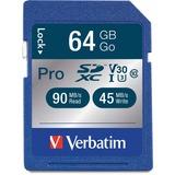 Verbatim 64GB Pro 600X SDXC Memory Card, UHS-I V30 U3 Class 10