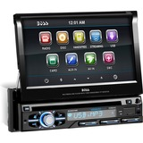 Boss Audio BV9979B Single-DIN 7 inch Motorized Touchscreen DVD Player Receiver, Bluetooth, Detachable Front Panel, Wireless Remote - 4 Channels - DVD-RW, DVD+RW, CD-RW - DVD Video, VCD, MP4 - CD-DA, MP3, WMA - AM, FM - SD - Bluetooth - USB - Auxiliary Input - iPod/iPhone Compatible - In-dash