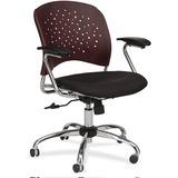 Safco Reve Task Chair Round Plastic Wood Back - Fabric Black Seat - Wood-plastic Composite Mahogany  SAF6809MH