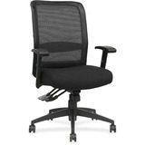 Lorell Executive High-Back Mesh Multifunction Chair - Fabric Black Seat - Black Back - Steel Frame - LLR62105