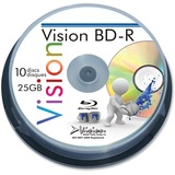 Vision Blu-ray Recordable Media - BD-R - 6x - 25 GB - 10 Pack Spindle