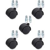 "Lorell Hard Wheel Deluxe Casters Set - 1.97"" Diameter - Nylon, Metal - Black LLR33445"