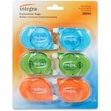 Integra Transparent Case Correction Tape Pack - Writable Surface, Non-refillable - 6 / Pack - Assort ITA38283