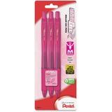 EnerGel Breast Cancer Awareness X Retractable Gel Pens - Medium Point Type - 0.7 mm Point Size - Ref PENBL107BP3PBC