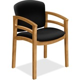 HON 2112 Dble Rail Arms Harvest Wood Guest Chair - Black Seat - Black Back - Hardwood Frame - Four-l HON2112CCU10
