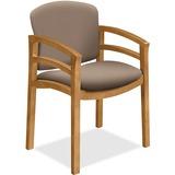 HON 2112 Dble Rail Arms Harvest Wood Guest Chair - Morel Seat - Morel Back - Hardwood Frame - Four-l HON2112CCU24
