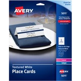 Avery® Small Textured Tent Cards, White, 1 7/16 x 3 3/4, 6 Cards/Sheet, 150/Box AVE5011