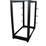 StarTech.com 25U Open Frame Server Rack - Adjustable Depth - 4-Post Data Rack - w/ Casters/Levelers/Cable Management Hooks (4POSTRACK25U)