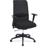 Lorell Weight Activated Mesh Back Suspension Chair - Fabric Black Seat - Black Back - 5-star Base -  LLR34854