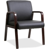 Lorell Black Leather Wood Frame Guest Chair - Bonded Leather Black Seat - Bonded Leather Black Back  LLR40201