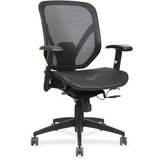 Lorell Mesh Seat/Back Mid-back Chair - Black Seat - Black Back - Plastic Frame - 5-star Base - Black LLR40203
