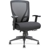 Lorell Fabric Seat Mesh Mid-back Chair - Fabric Black Seat - Black Back - Plastic Frame - 5-star Bas LLR40204