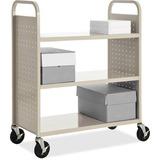 """Lorell Flat Shelf Book Cart - 3 Shelf - 200 lb Capacity - 5"""" Caster Size - Steel - 39"""" Width x 19"""" D LLR49203"""